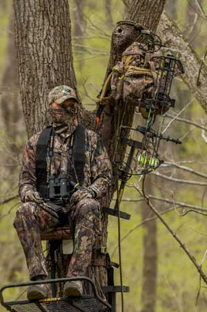 bowhunter in a treestand