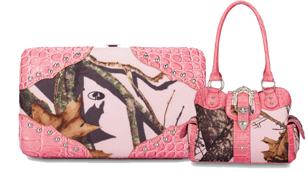 pink camo  purse and wallet